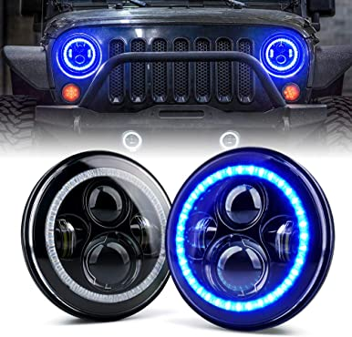 "Xprite 7"" 90W CREE LED Headlights with Blue Halo Ring Angel Eyes for 1997 - 2018 Jeep Wrangler JK TJ LJ(DOT Approved), 9600 Lumens Hi/Lo Beam Head lamp"