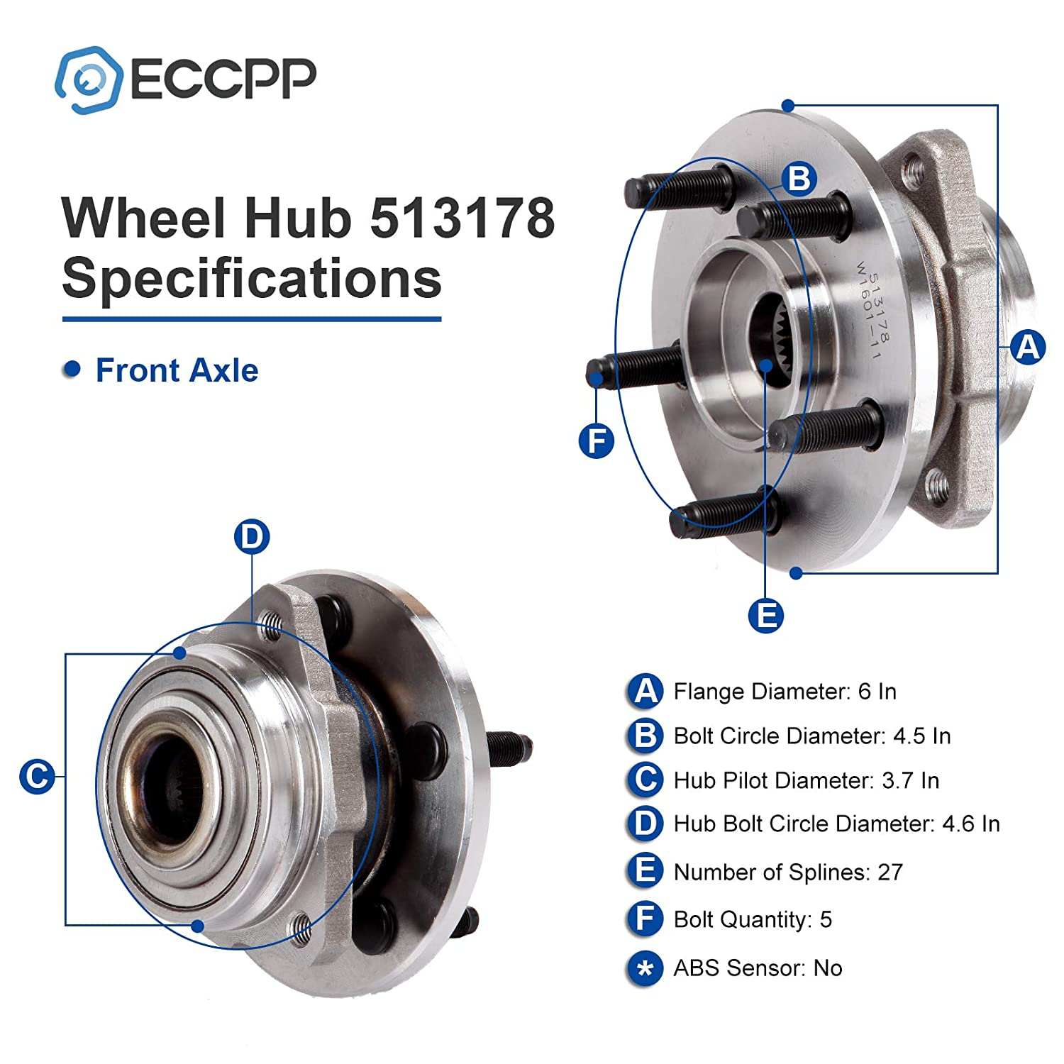 ECCPP Wheel Bearing and Hub Assembly for Jeep Liberty 2002-2005 Professional Grade Wheel Hubs 5 Lugs 513178x2