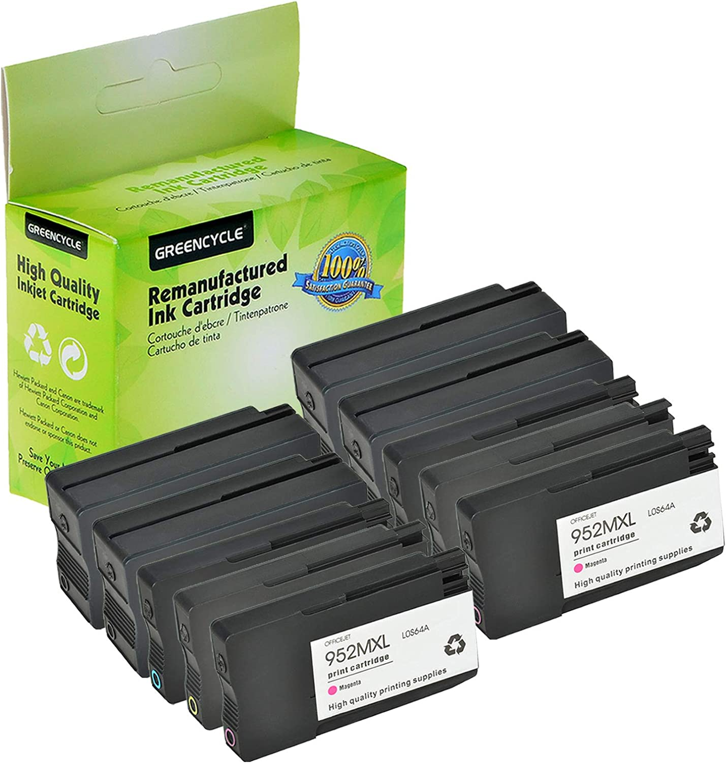 4 Black 2 Cyan 2 Magenta 2 Yellow GREENCYCLE High Yield Re-Manufactured 952XL 952 XL Ink Cartridge Compatible for HP OfficeJet Pro 8710 8720 8740 7740 8200 8210 8216 8700 8715 8728 8730 Printer