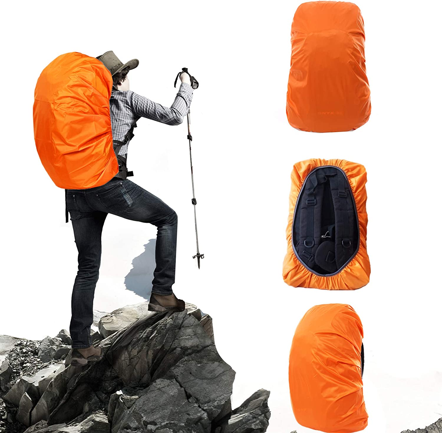 Yalkerw Waterproof Backpack Rain Cover (15-90L) for Hiking, Camping, Traveling, Cycling