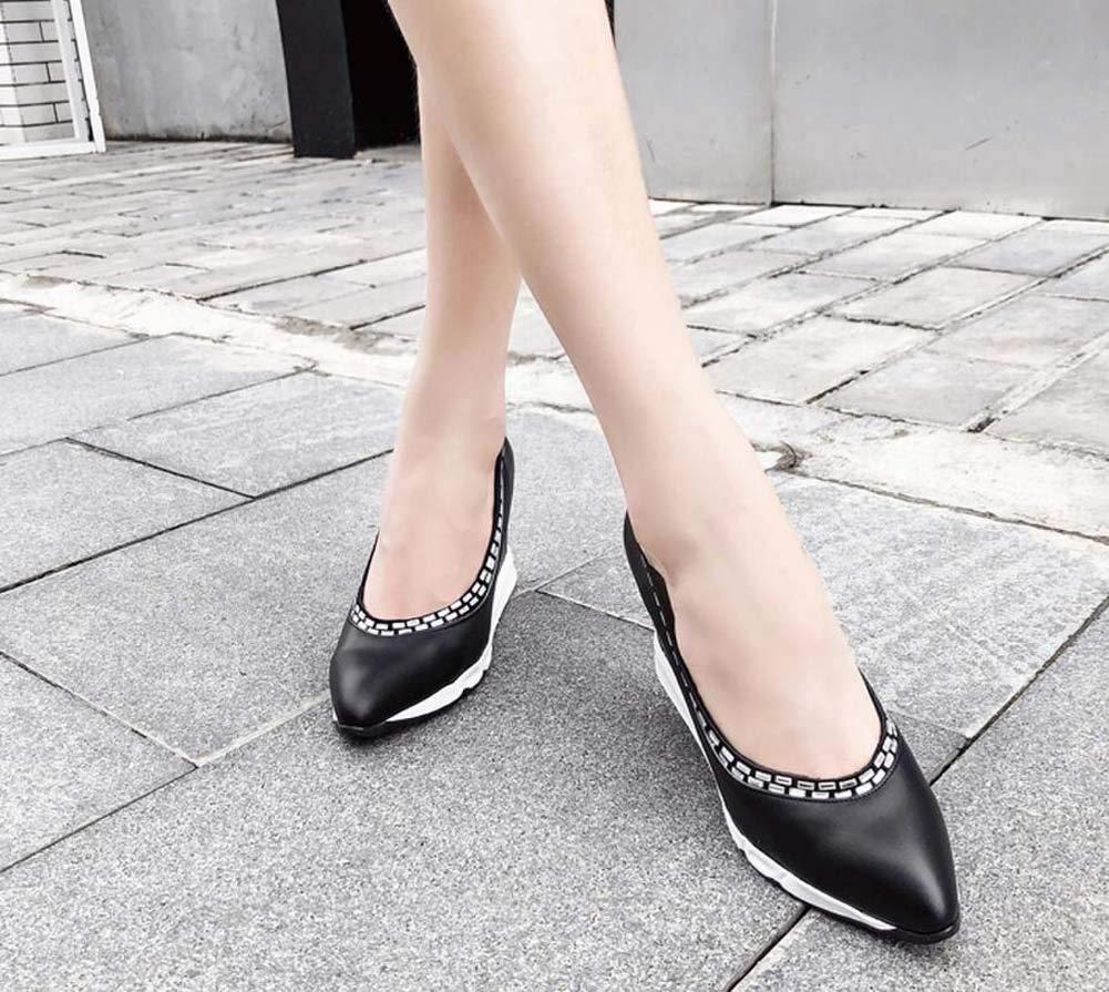 Mamrar Pumpe 8Cm Keil Ferse Frauen Loafers Lässige Schuhe Loafers Frauen Spitze Zehen Strass Hofschuhe Rutschen auf Kleider Schuhe EU-Größe 34-40 efd288