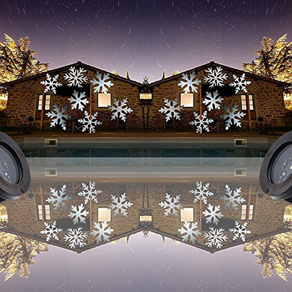 Podofo Waterproof Snowflakes Lamp Light Sparkling Landscape LED Projector for Indoor Outdoor Christmas Holiday Home Decoration (White) by podofo (Image #4)