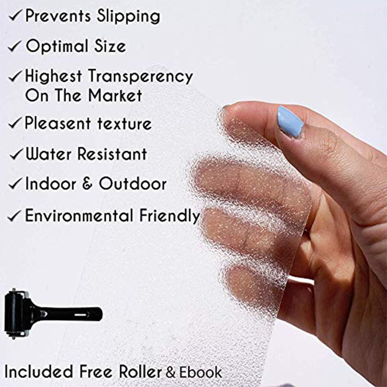 Juego de alfombrillas antideslizantes para escaleras antideslizantes Queta transparentes con 15 rollos de cinta antideslizante transparente