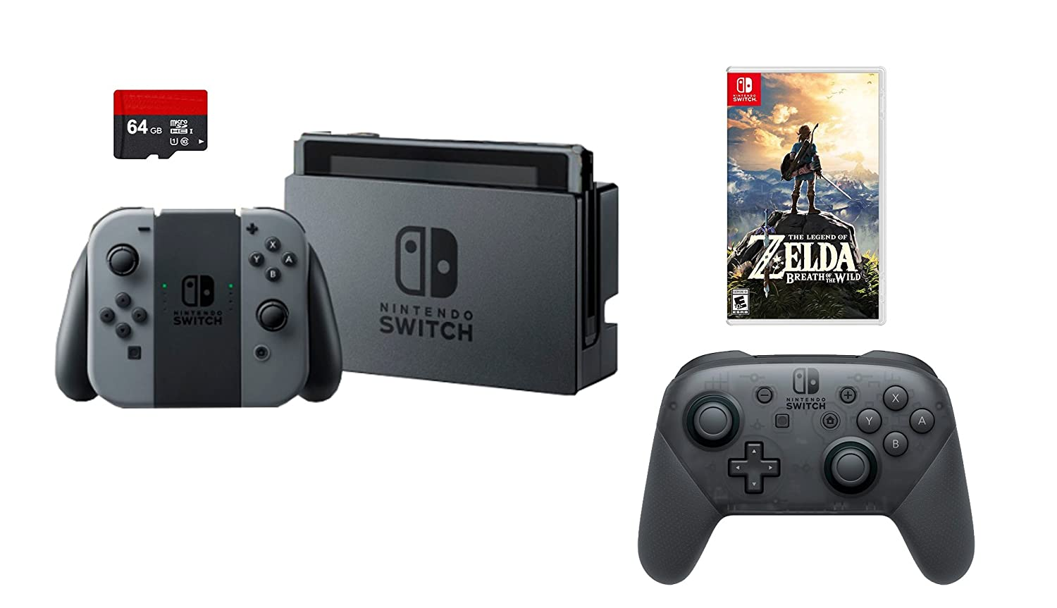 Nintendo Swtich 4 items Bundle:Nintendo Switch 32GB Console Gray Joy-con,64GB Micro SD Memory Card and an Extra Nintendo Switch Pro Wireless Controller,The Legend of Zelda