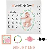 Baby Monthly Milestone Blanket for Newborn, Infant, Boy and Girl | Photo Prop, Photography Backdrop | Best Unisex Baby Shower Or Registry Gift | Soft, Organic 100% Muslin Cotton by BabyShine