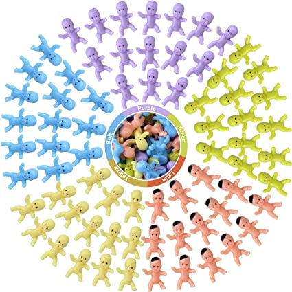 50pcs Mini Plastic Babies Doll for Party Favor Decors Baby Shower Party Game