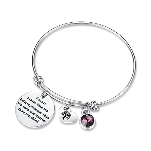 2a0d72653d41 February Birthstone You Are Braver Than You Believe Think Charm Bracelet  Jewelry with Heart Tree of