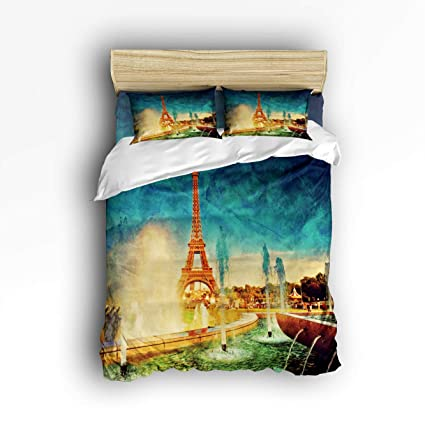 Fitted /& Pillowcases Complete Bedding Set 4 Piece Reversible Sided Duvet Cover