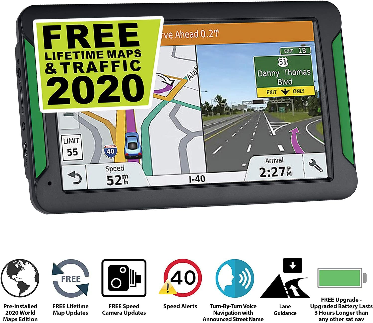 Lane Assist Free Lifetime maps of The United States Car GPS Navigation Canada and Mexico 7-inch Touch Screen Vehicle GPS GPS Navigation System Voice Broadcast Navigation