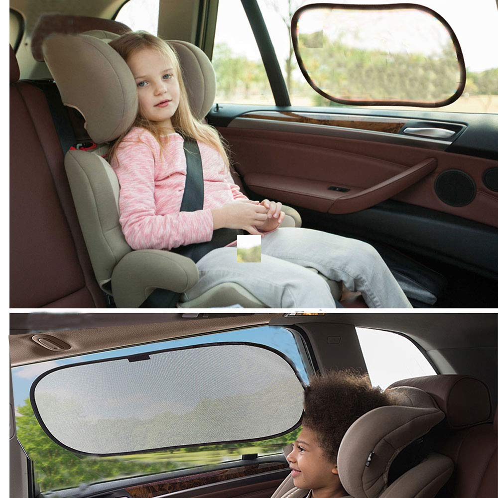 SEEKVER 4 pcs Car Window Sun Shade,Car Sunshade Protector and 2 pcs Car Rearview Waterproof Film,Anti Fog and Waterproof Film