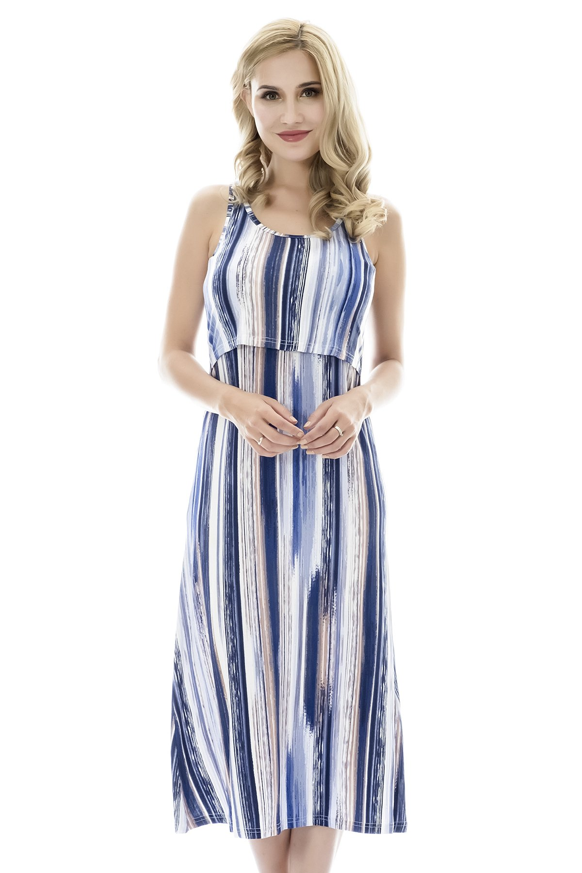 Bearsland Women's Long Style Nursing Breastfeeding Dresses,bluepurple,Medium