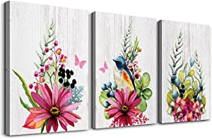 Flowers and birds 3 Pieces abstract Canvas Wall Art for living room Wall Decor for bedroom kitchen decorations Wood grain posters Canvas Prints artwork Modern framed bathroom Home decoration