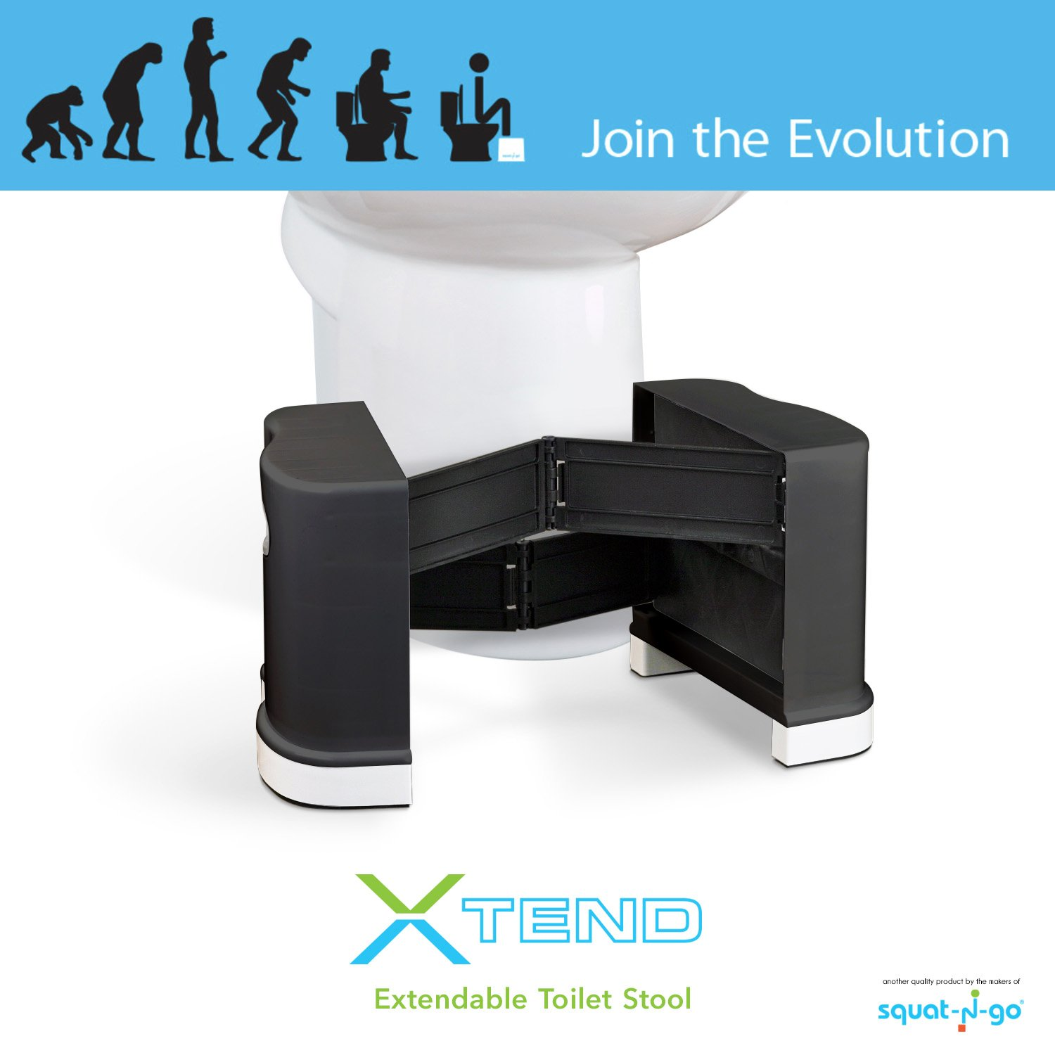 Squat N Go Extendable Toilet Stool | The Only Extendable Squatting Stool | Convenient and Compact | Fits All Toilets, 7'' and 8'' Heights, Use in Any Bathroom (Black)