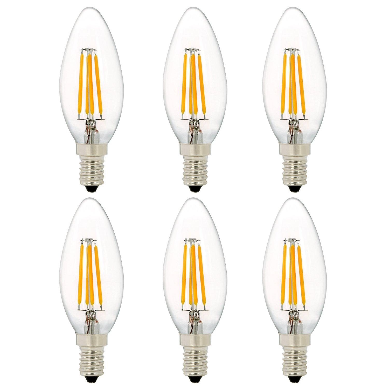 C35 4W Dimmable Ampoule à Filament LED Chandelle, NATIONALMATER 4W Ampoule à Incandescence Équivalent 40W, Blanc chaud (2700K), Culot E14, 400LM, Angle de diffusion 360, 220-240V, Lot de 6 Ampoules