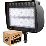 Lightdot 150W LED Outdoor Flood Light with Knuckle, 5000K Daylight, 15000lm Super Bright, Dusk to Dawn Photocell Sensors, IP6