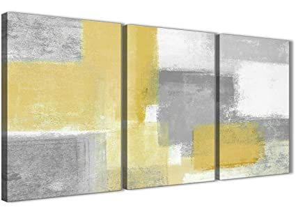 44ae9533d01 Wallfillers 3 Piece Mustard Yellow Grey Bedroom Canvas Pictures Decor -  Abstract 3367-126cm Set
