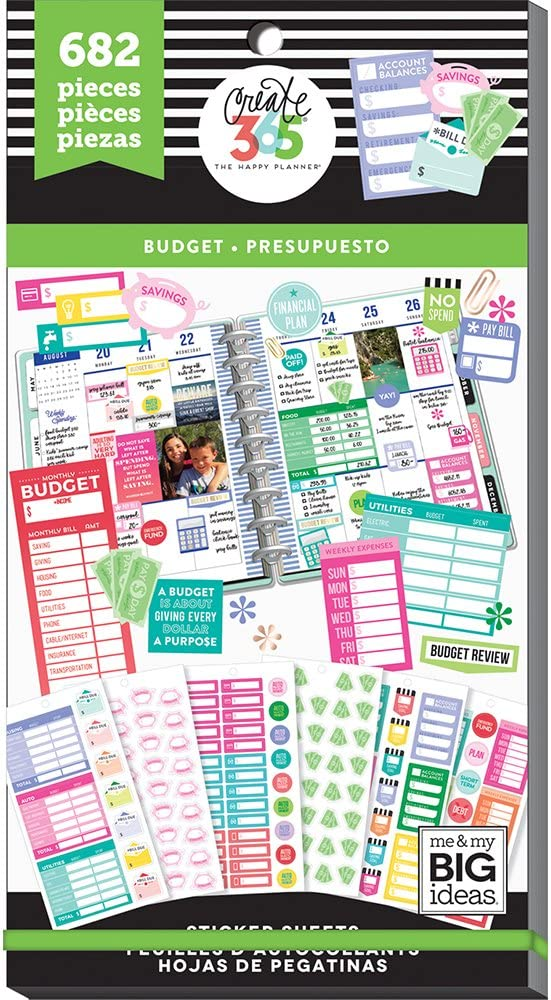 me & my BIG ideas Sticker Value Pack for Classic Planner - The Happy Planner Scrapbooking Supplies - Budget Theme - Multi-Color & Gold Foil - Great for Projects & Albums - 30 Sheets, 682 Stickers