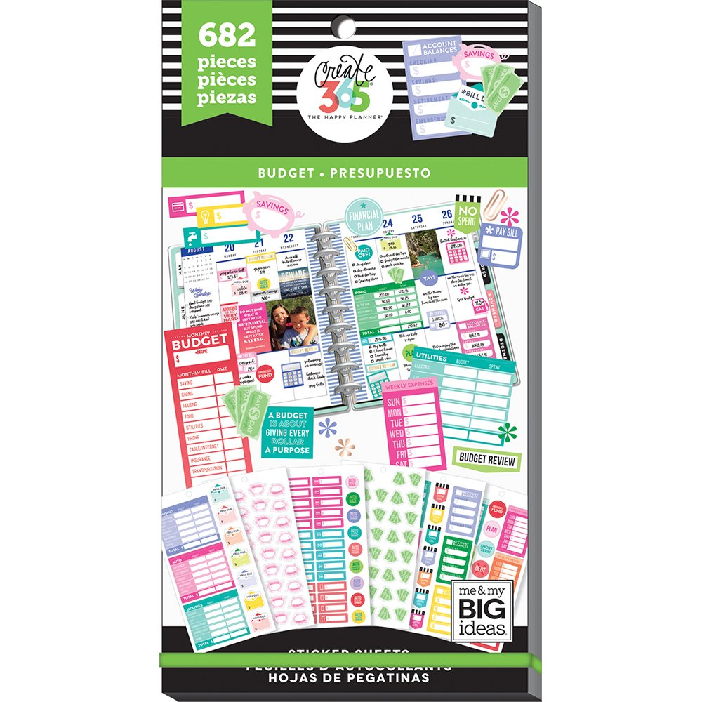 me & my BIG ideas PPSV-54-3048 Happy Planner-Value Pack Stickers-Budget Fill in