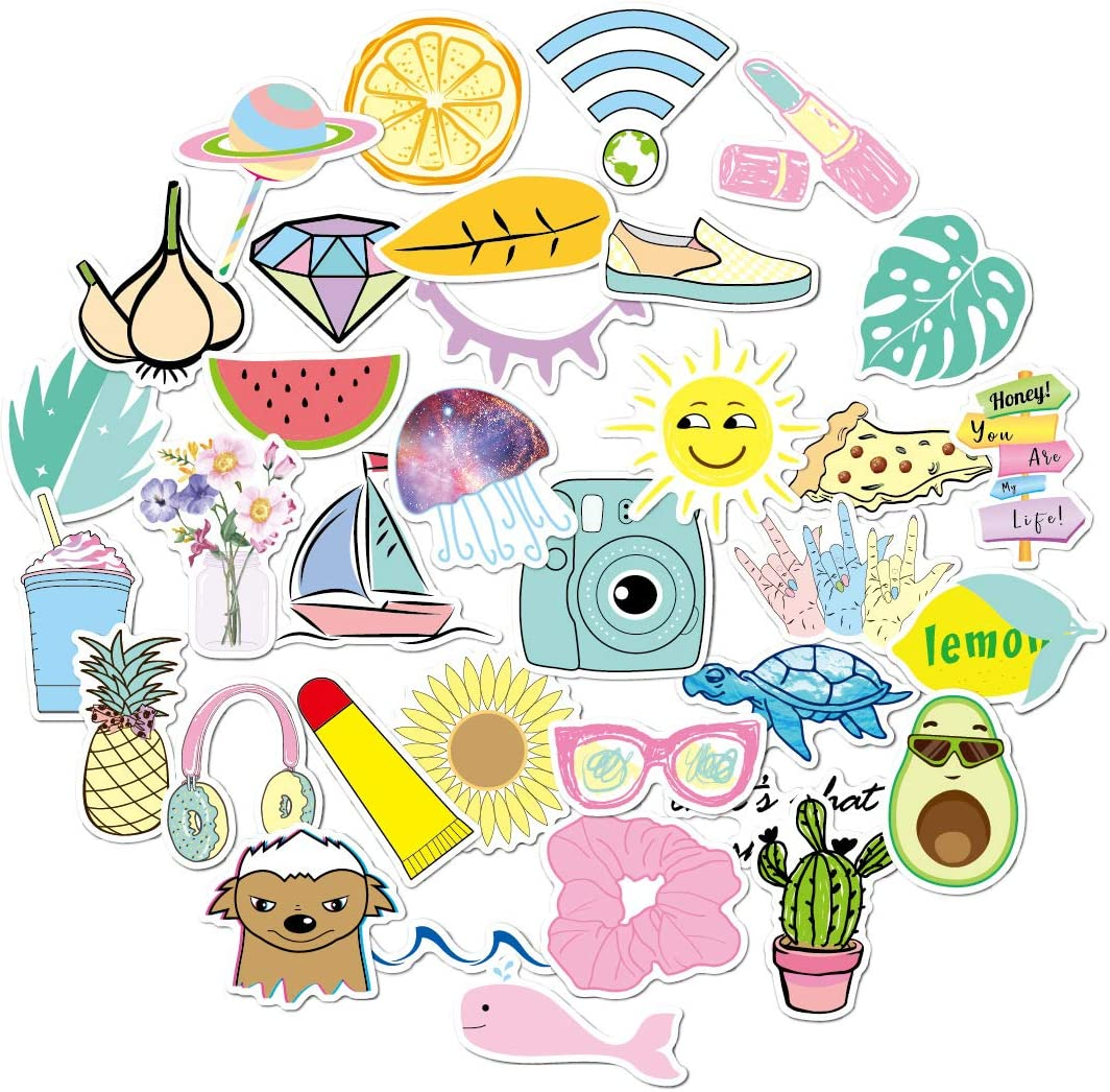 Doraking 35PCS Vsco Waterproof Decoration Stickers for Laptop, Suitcase, Skateboard for Teens, Girls, Vsco Stickers, Aesthetic Stickers, Water Bottle Stickers (Mixed)