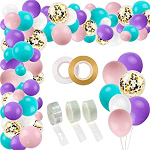 RUBFAC 132pcs Mermaid Unicorn Balloon Arch Kit Garland, Pink and Purple Premium Balloons for Mermaid Unicorn Color Party, Birthday Decorations