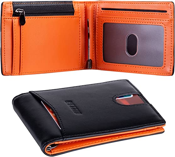 Real Carbon Fiber BLK Leather Wallet Bill Fold Credit ID Card Picture Pockets