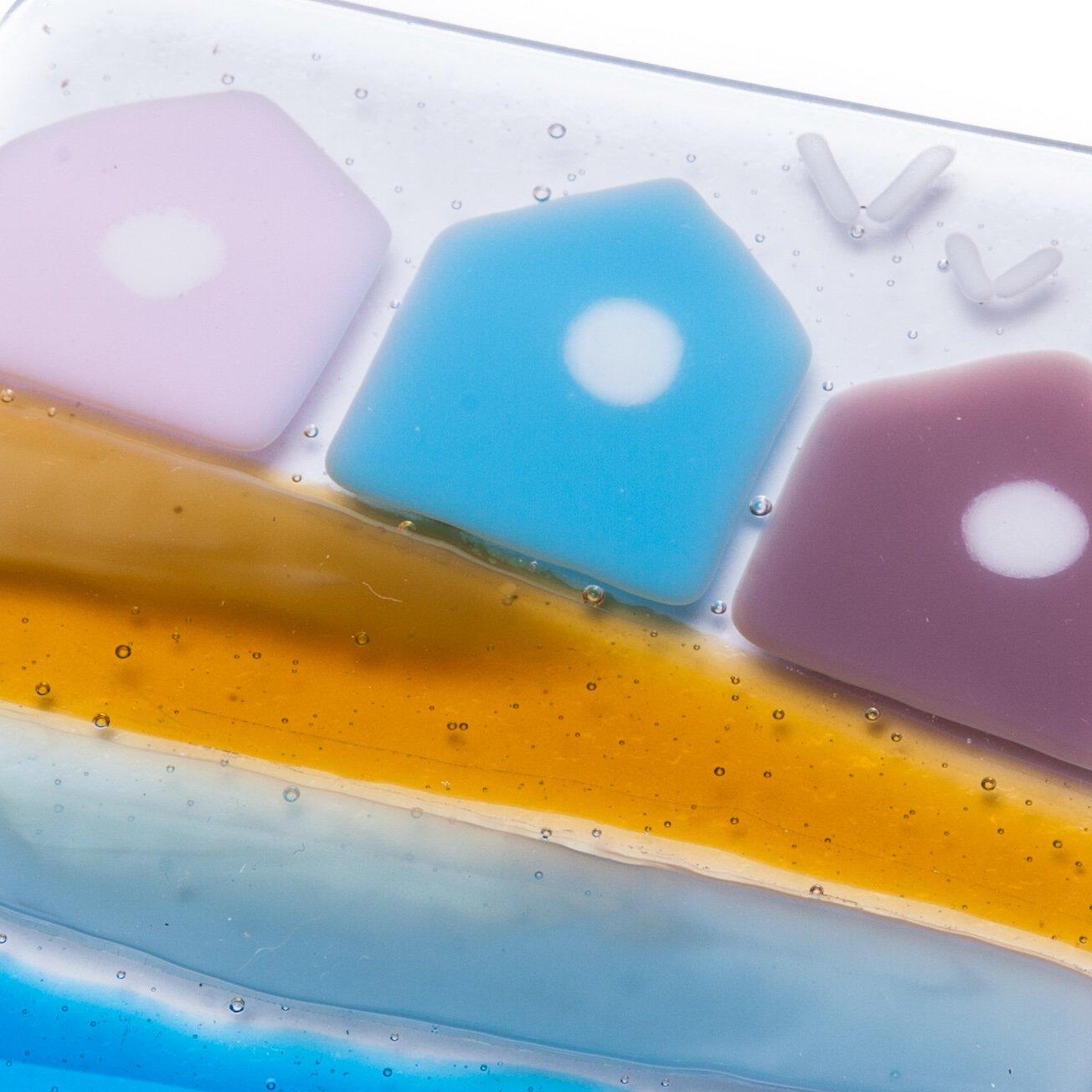 Compra Diseño de casetas de playa fused posavasos de cristal art - Hand-fabricado en East Sussex, England en Amazon.es