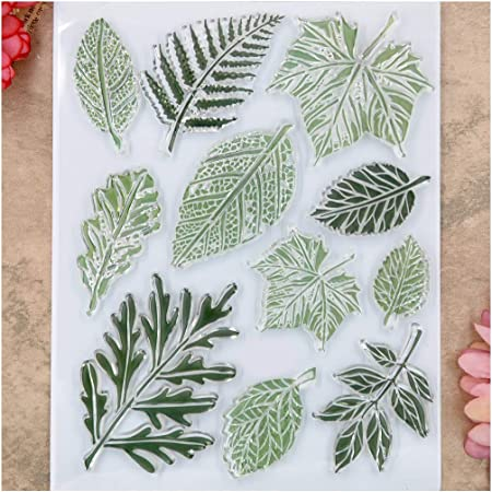 Kwan Crafts Moment Leaves Clear Stamps for Card Making Decoration and DIY Scrapbooking
