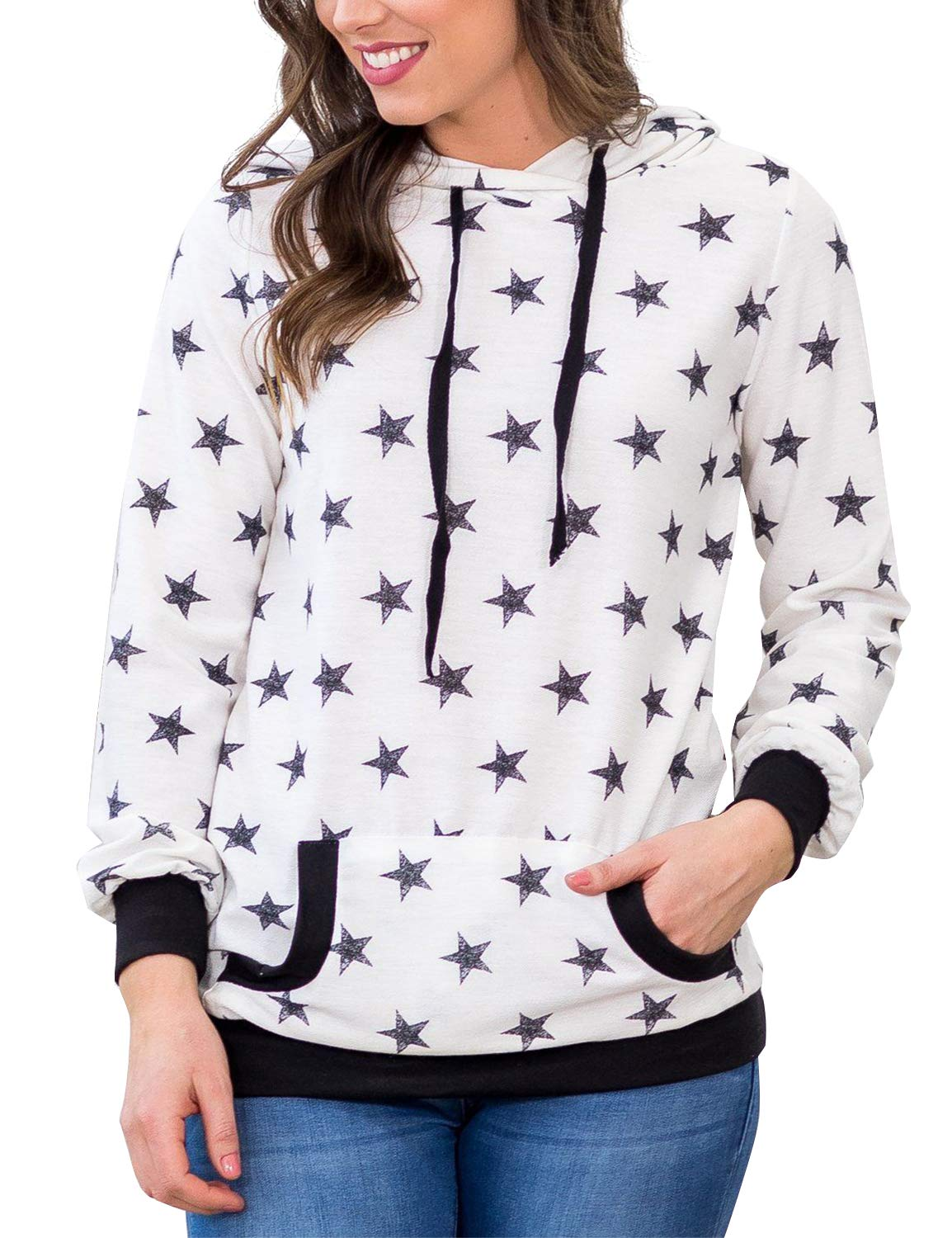 BMJL Women's Casual Long Sleeve Sweatershirt Hooded Star Print Pullover with Pocket White