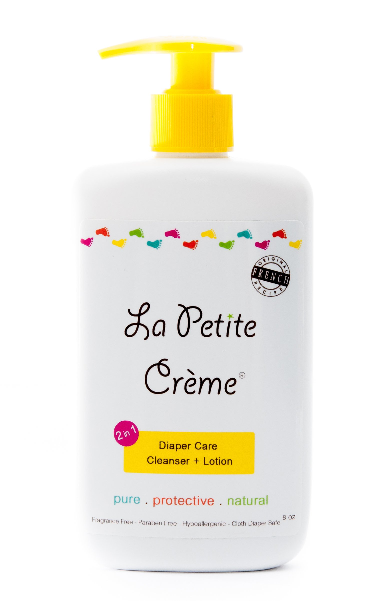 La Petite Creme - 100% Natural 2-in-1 Diaper Care Cleanser & Lotion - Liniment (8 Oz Everyday Bottle with Dispensing Pump)