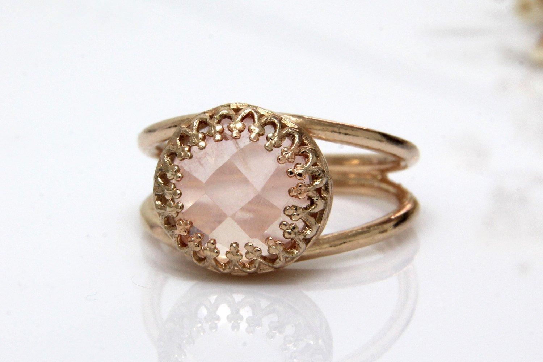 Rose quartz ring, rose gold ring, love stone ring, girlfriend promise ring, friendship ring, love ring, October birthstone