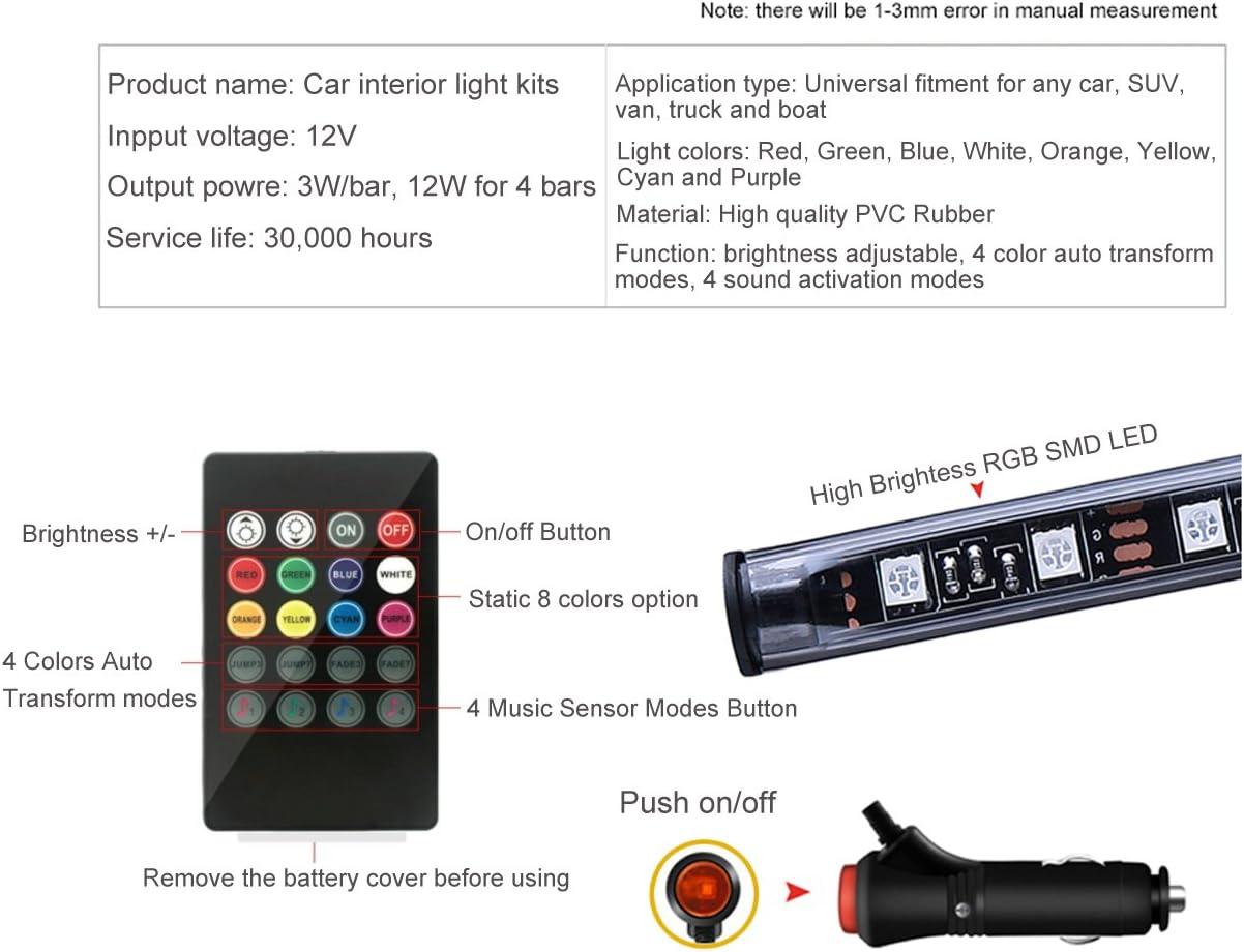BRTLX Car Interior Lights Atmosphere Decorative RGB LED Strip Light Kit 12V 4 x 9 LEDs with Sound Active Function Universal Fitment