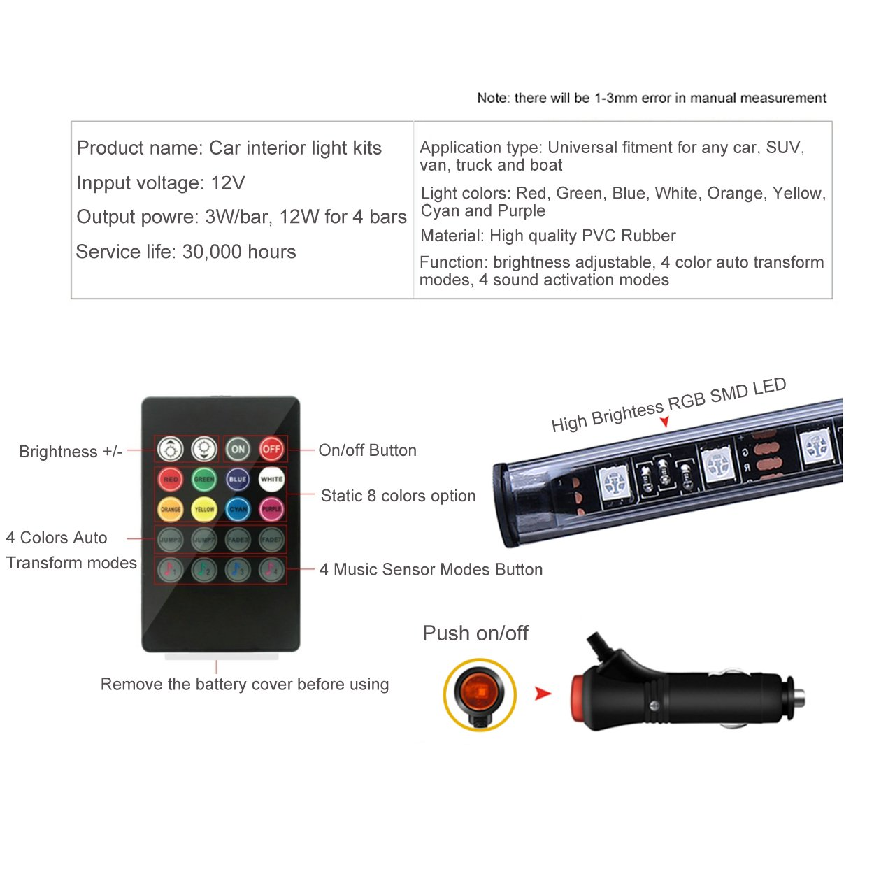 BRTLX LED Car Interior Lights 2.62ft Multicolor Atmosphere Underdash Lighting Kit 4pcs 48 LEDs with Sound Active Function Wireless Remote Control Car Charger Included Universal Fitment