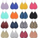 UMTNOR Teardrop Faux Leather Earrings Set Drop Dangle Earrings Lightweight Leather Earrings for Women Jewelry