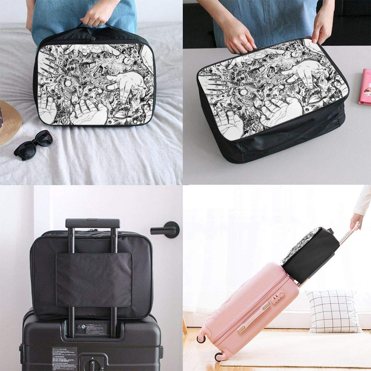 Occult Divination Witch Hands Travel Lightweight Waterproof Folding Storage Portable Luggage Duffle Tote Bag Large Capacity In Trolley Handle Bags 6x11x15 Inch