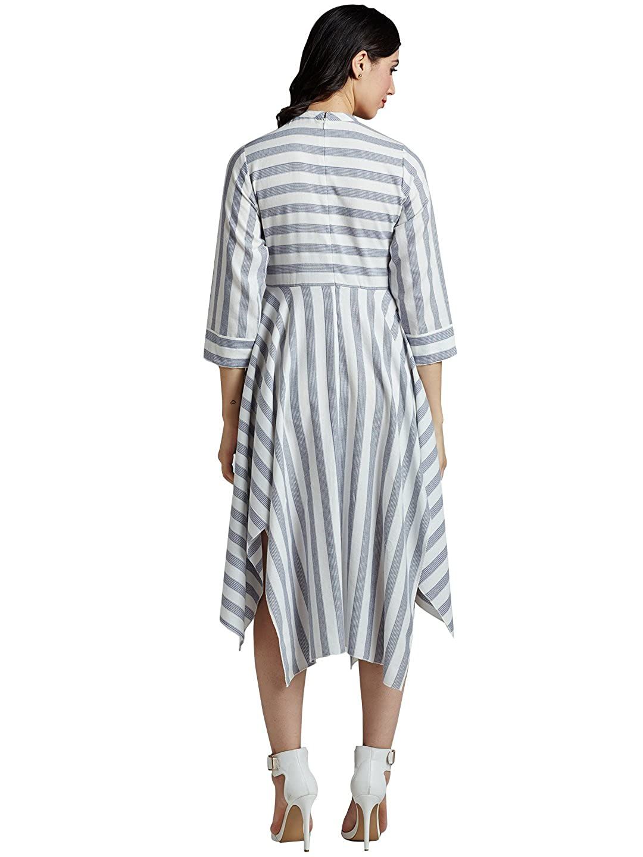 Desi Fusion Women s Cotton Striped Dress  Amazon.in  Clothing   Accessories 52fdfd043