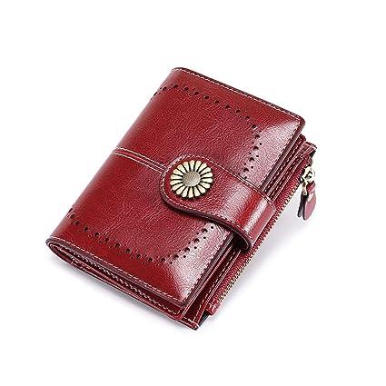 Billetera Pequeña Mujer Billetera con Cierre Cremallera Cartera de Cuero Monedero Cartera de Embrague