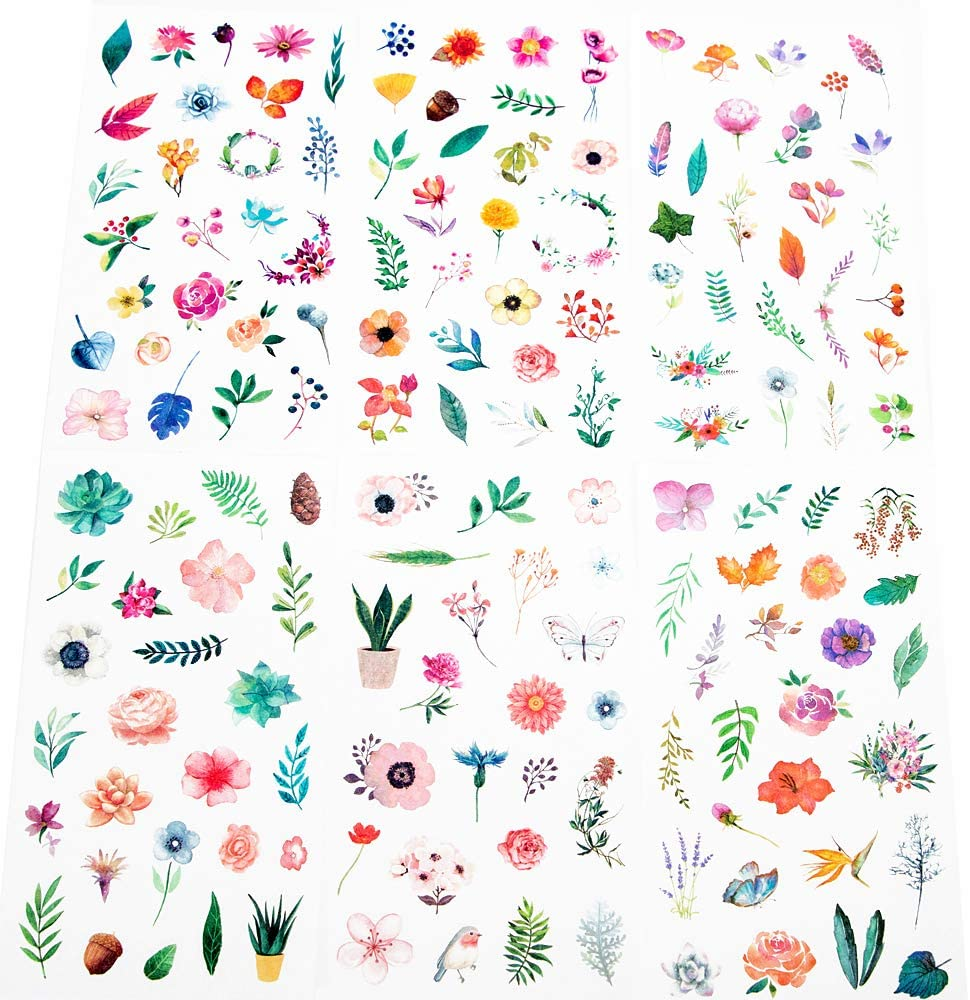 Molshine 12sheets (About 300pieces) Die-Cutting Stickers–Plant Flower Watercolor Series Decals for DIY,Bullet Diary Decoration,Laptops,Scrapbook,Luggage,Cars,Books,Sealing-6 Different Patterns x 2