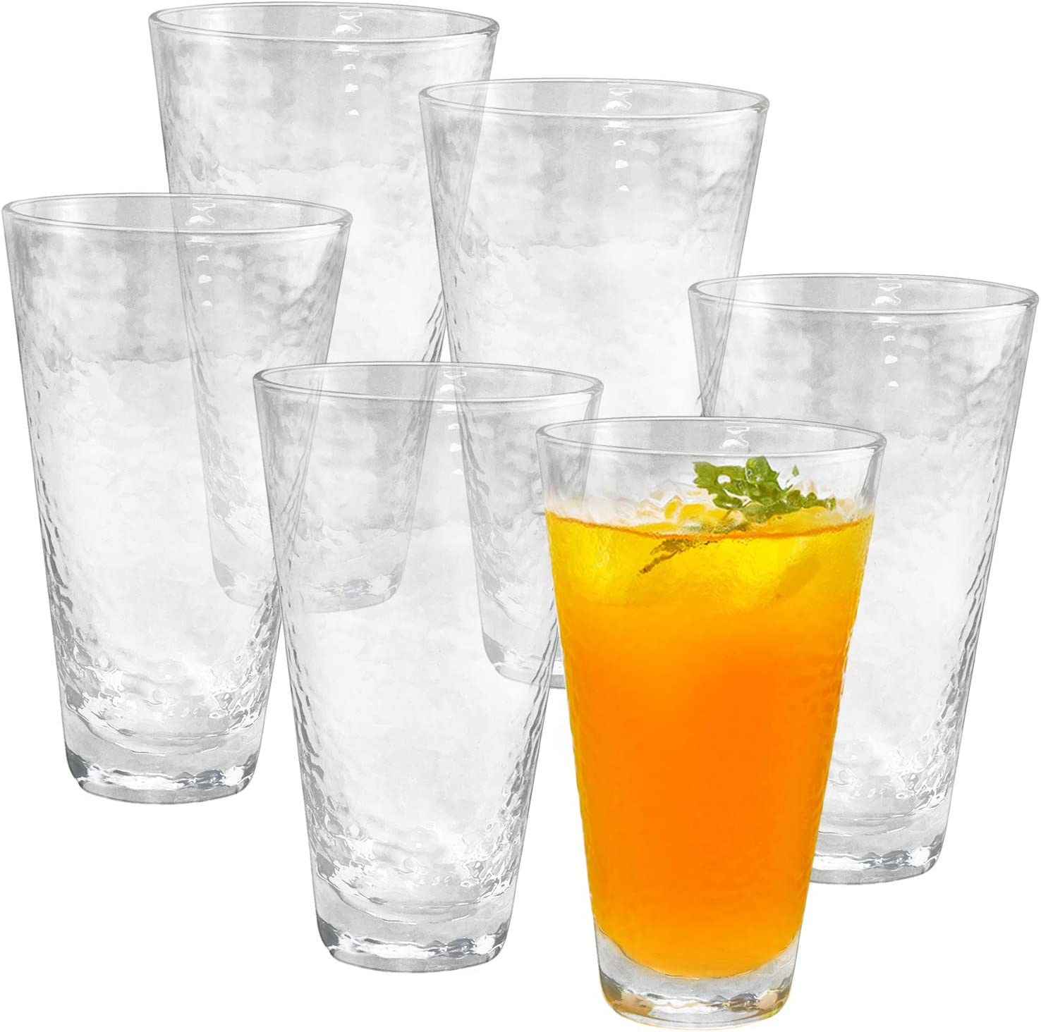 HORLIMER 14 oz Highball Drinking Glasses Set of 6, Clear Glass Tumbler with Textured Design and Heavy Base for Water Wine Juice Latte