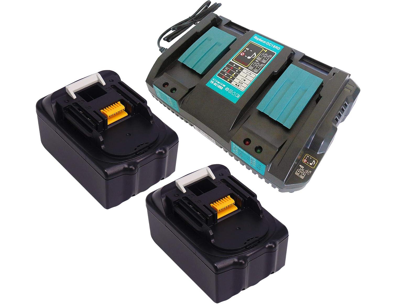 YASI MFG Doppio Caricatore 2 volte Caricabatterie Rapido & 2x Batteria per Makita BL1830 DC18RA DC18RC DC18RD [Caricabatterie 7.2V-18V agli ioni di litio con Makita BL1830 18V 3,0Ah Ioni di Litio]