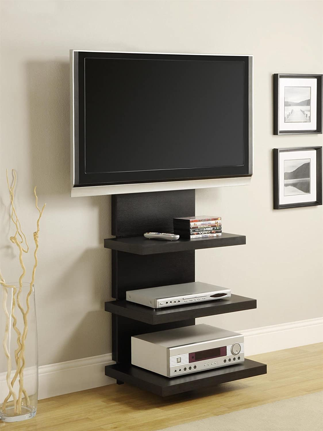 tv stand with shelves Amazon.com: Ameriwood Home Elevation TV Stand for TVs 60