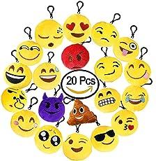 BUDI 20 Pcs Emoji Plush Pillow Keychain Kids Party Supplies Favors Car Cute Key Ring Pendant Set of 20