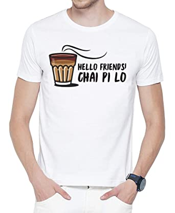 90a55ef0f Dingo Men's White Printed T-Shirt | Hello Friends Chai Pi Lo T-Shirt | Funny  Dialogue/Quote / Slogan T-Shirt | Hindi Quote T-Shirt | Stylish Round Neck  ...