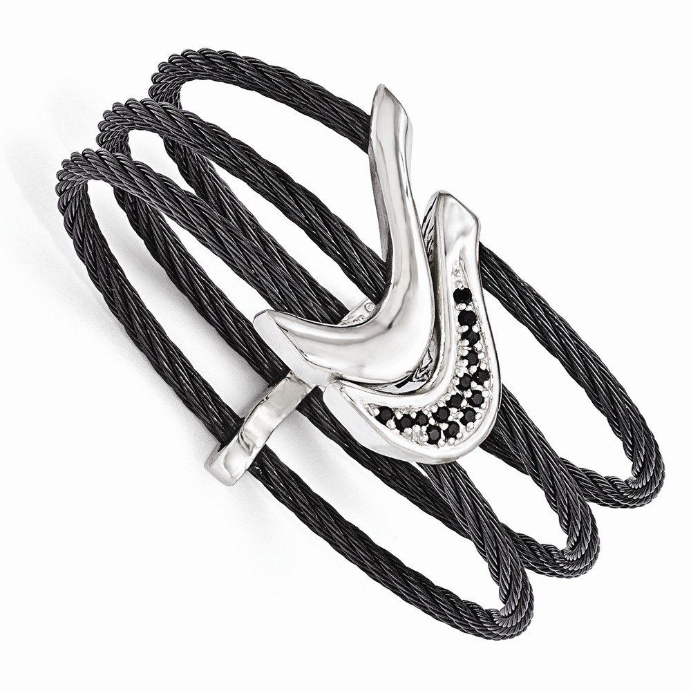Perfect Jewelry Gift Edward Mirell Black Ti Sterling Silver Black Spinel Cable Flex Cuff Bangle