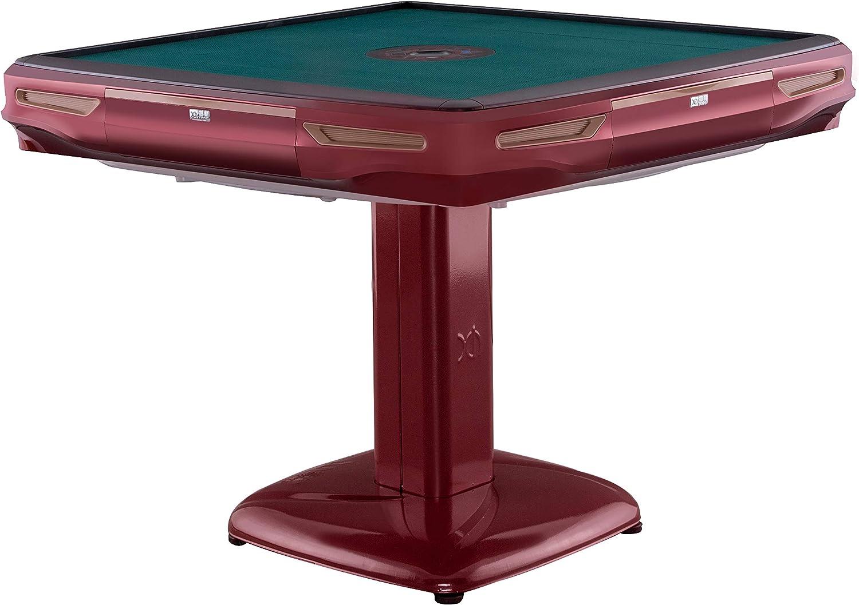 usamjtable Green Blue Pedestal Automatic Thin Burgundy Mahjong 40mm Tiles Table