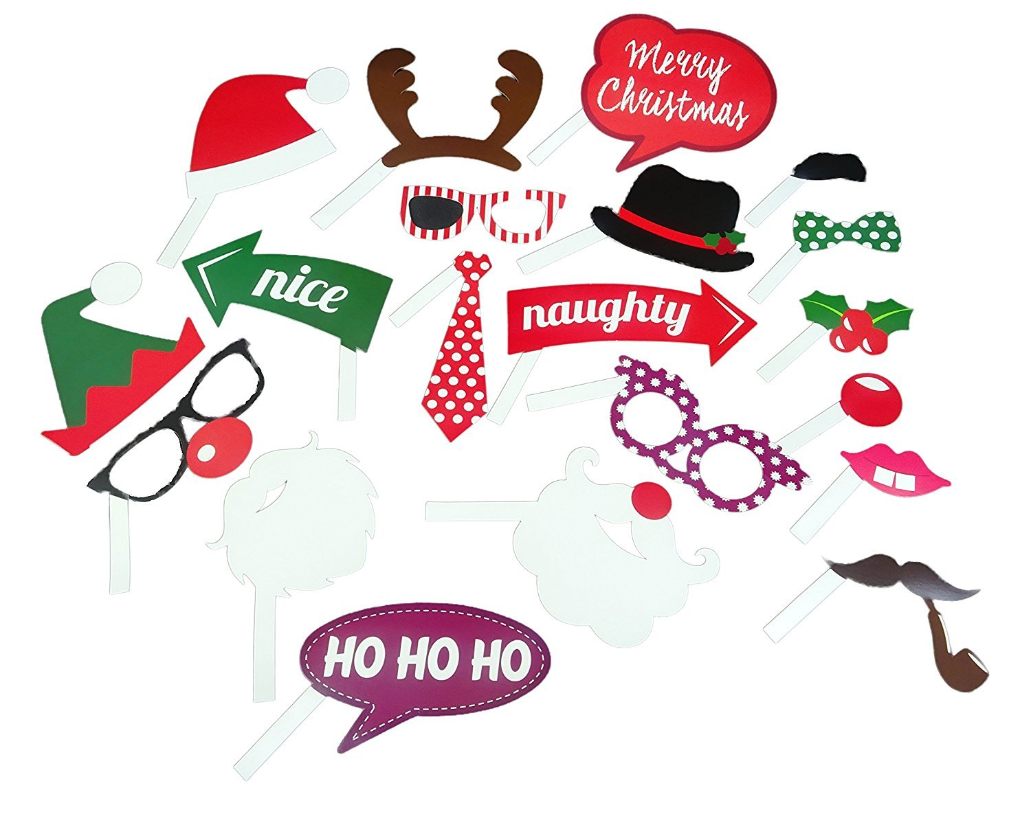 Pack Of 6 Fun Family Small Christmas Party Crackers Face Xmas Photo Props