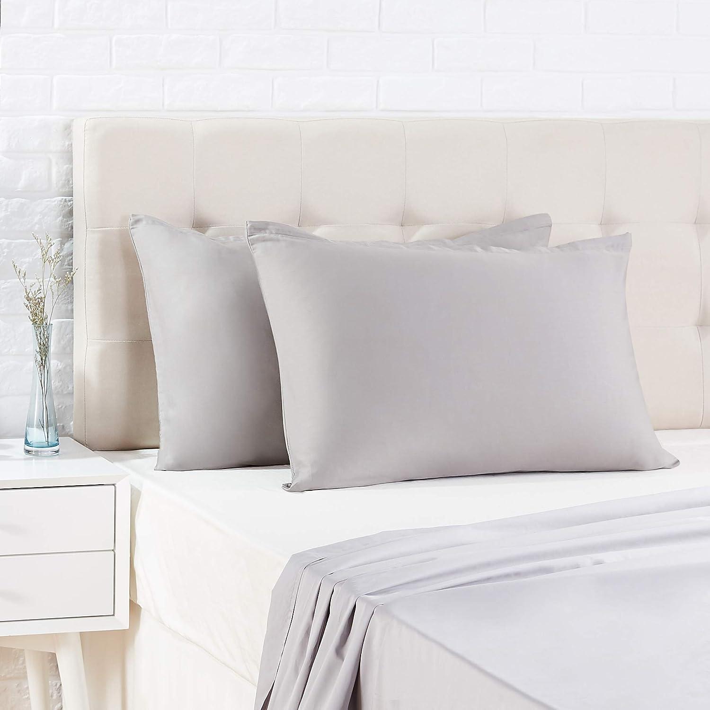 AmazonBasics - Funda de almohada de satén - 40 x 80 cm x 2, Gris oscuro