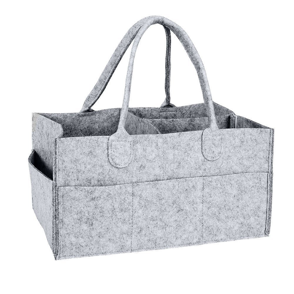 Foldable Baby Diaper Caddy Portable Nappy Organiser Grey Felt Basket with Changeable Compartments Travel Tote Bag for Wipes & Kid Toys - Newborn Gift BulzEU