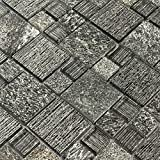 Black Tiles Mosaic Stone Marble Wall Tile Backsplash Kitchen Glass Sheets Fireplace Materials (1PCS Small Sample 2.8x5.9 Inches)