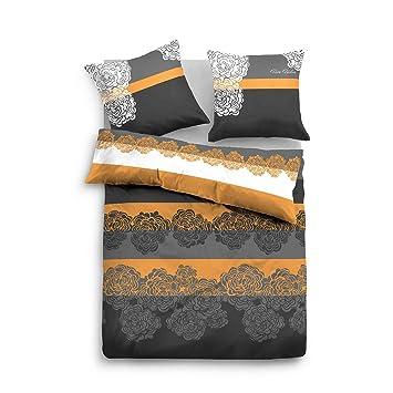 Tom Tailor Biber Bettwäsche Flower Orange 135x200 Cm 80x80 Cm