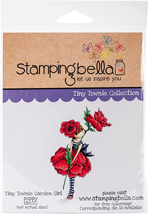 """Stamping Bella Tiny Townie Garden Girl Poppy Cling Stamp, 6.5"""" x 4.5"""""""